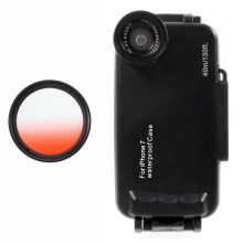37mm Half Graduated Color Filter Lens + IPX8 Waterproof Diving Case for iPhone 7 - Red / Black