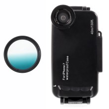 37mm Half Graduated Color Filter Lens + IPX8 Waterproof Diving Case for iPhone 7 - Cyan / Black