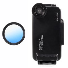 37mm Half Graduated Color Filter Lens + IPX8 Waterproof Diving Case for iPhone 7 - Blue / Black