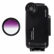 37mm Half Graduated Color Filter Lens + IPX8 Waterproof Diving Case for iPhone 7 - Purple / Black