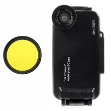 37mm Complete Graduated Color Filter Lens + IPX8 Waterproof Diving Case for iPhone 7 - Yellow / Black