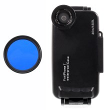 37mm Complete Graduated Color Filter Lens + IPX8 Waterproof Diving Case for iPhone 7 - Blue / Black