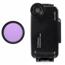 37mm Complete Graduated Color Filter Lens + IPX8 Waterproof Diving Case for iPhone 7 - Purple / Black