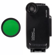 37mm Complete Graduated Color Filter Lens + IPX8 Waterproof Diving Case for iPhone 7 - Green / Black
