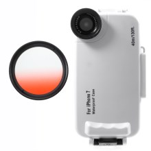 37mm Half Graduated Color Filter Lens + IPX8 Waterproof Diving Case for iPhone 7 - Red / White