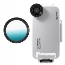 37mm Half Graduated Color Filter Lens + IPX8 Waterproof Diving Case for iPhone 7 - Cyan / White