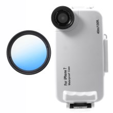 37mm Half Graduated Color Filter Lens + IPX8 Waterproof Diving Case for iPhone 7 - Blue / White