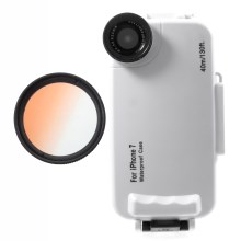 37mm Half Graduated Color Filter Lens + IPX8 Waterproof Diving Case for iPhone 7 - Orange / White