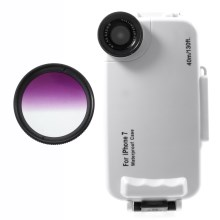 37mm Half Graduated Color Filter Lens + IPX8 Waterproof Diving Case for iPhone 7 - Purple / White
