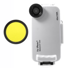 37mm Complete Graduated Color Filter Lens + IPX8 Waterproof Diving Case for iPhone 7 - Yellow / White