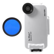 37mm Complete Graduated Color Filter Lens + IPX8 Waterproof Diving Case for iPhone 7 - Blue / White