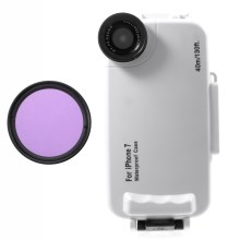 37mm Complete Graduated Color Filter Lens + IPX8 Waterproof Diving Case for iPhone 7 - Purple / White