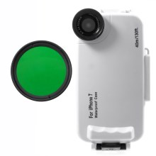 37mm Complete Graduated Color Filter Lens + IPX8 Waterproof Diving Case for iPhone 7 - Green / White