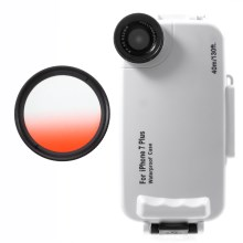 37mm Half Graduated Color Filter Lens + IPX8 Waterproof Diving Case for iPhone 7 Plus - Red / White