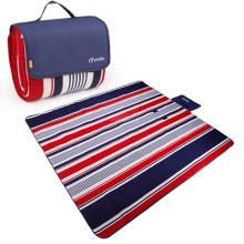 YODO Foldable Moisture-proof Mat Pad Water-Resistant Picnic Blanket Tote (200 x 200cm) - Red / Blue Stripes