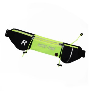 ROMIX RH42 Zippered Sports Waist Belt Bag for Running Jogging Traveling - Black / Green
