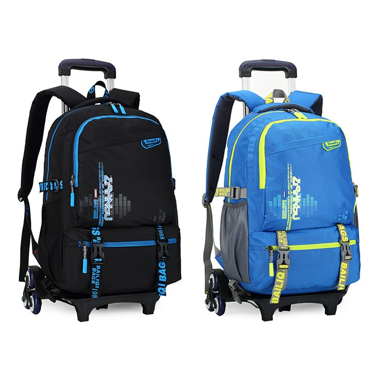 41a81836b1 ZIRANYU Detachable Rolling Backpack Cute School Backpack Kids Backpack with 6  Wheels - Dark Blue