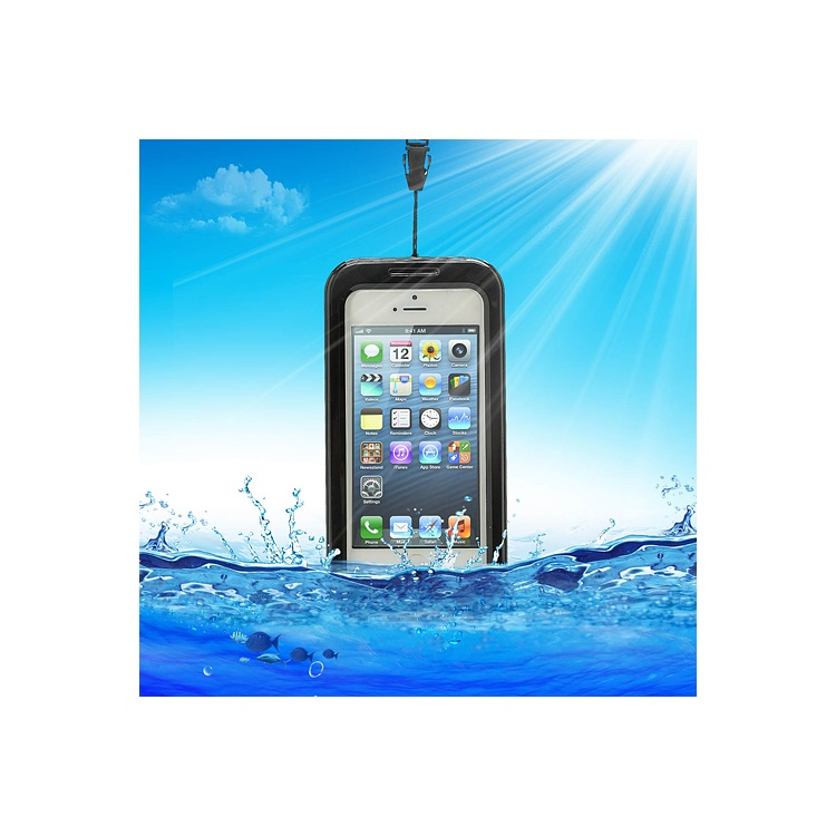 IPX-8 Universal Waterproof Case Cover for iPhone 5 4S 4 + Neck Strap - Black