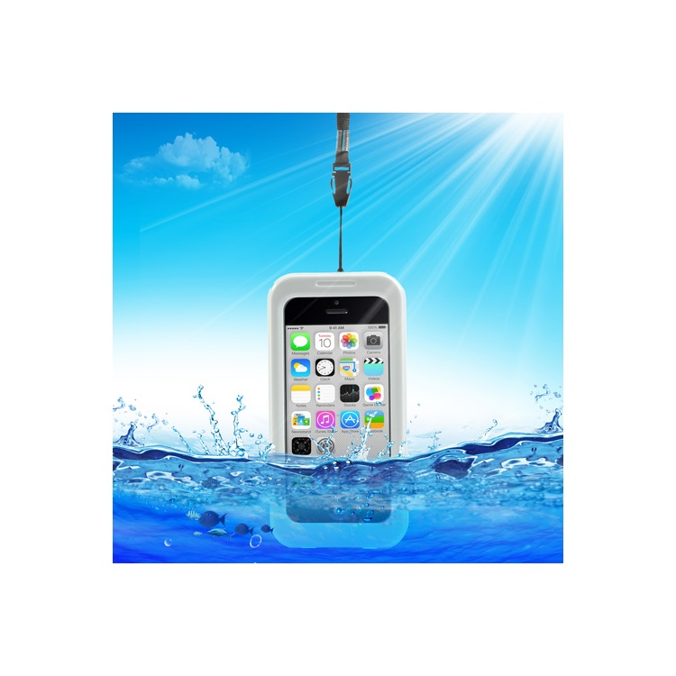 Premium Waterproof Protector Case for iPhone 5c 4S 4 + Neck Strap - White