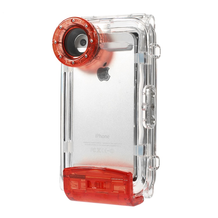 IPX8 Waterproof Photo Housing 40m/130ft Rated Underwater Cover for iPhone 5s 5 5c - Red