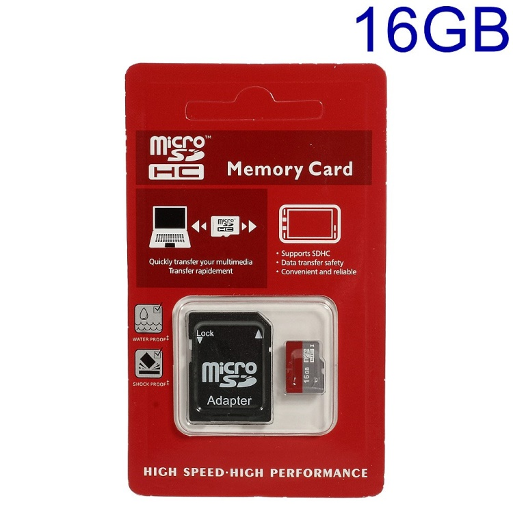 16GB High Speed MicroSD TF Memory Card with SD Adapter