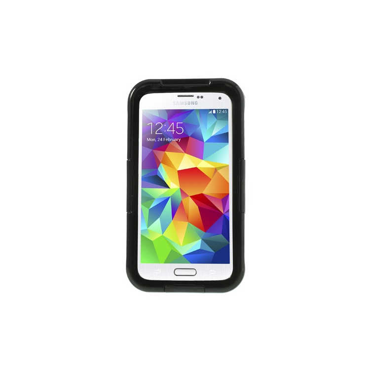 For Samsung Galaxy S5 G900 Waterproof Protective Case w/ Neck Strap - Black